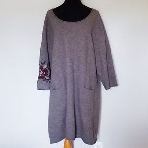 Gudrun Sjoden 100% Wool Gray Dress w/ Embroidery